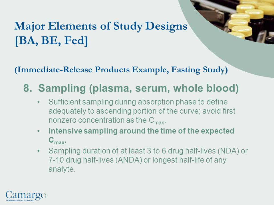 Major Elements of Study Designs [BA, BE, Fed] (Immediate-Release Products Example, Fasting Study)